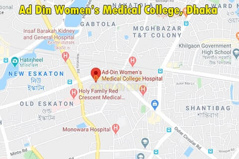 Ad Din Women's Medical College Dhaka map