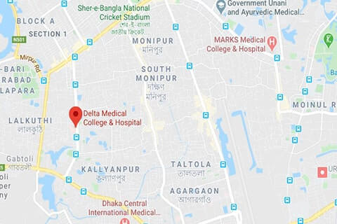 Map of Delta Medical College Dhaka