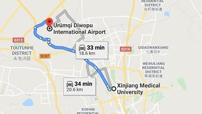 Map of Xinjiang Medical University